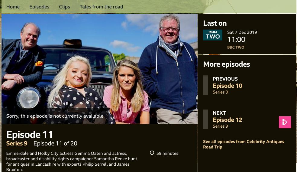 SAMANTHA'S BBC CELEBRITY ROAD TRIP